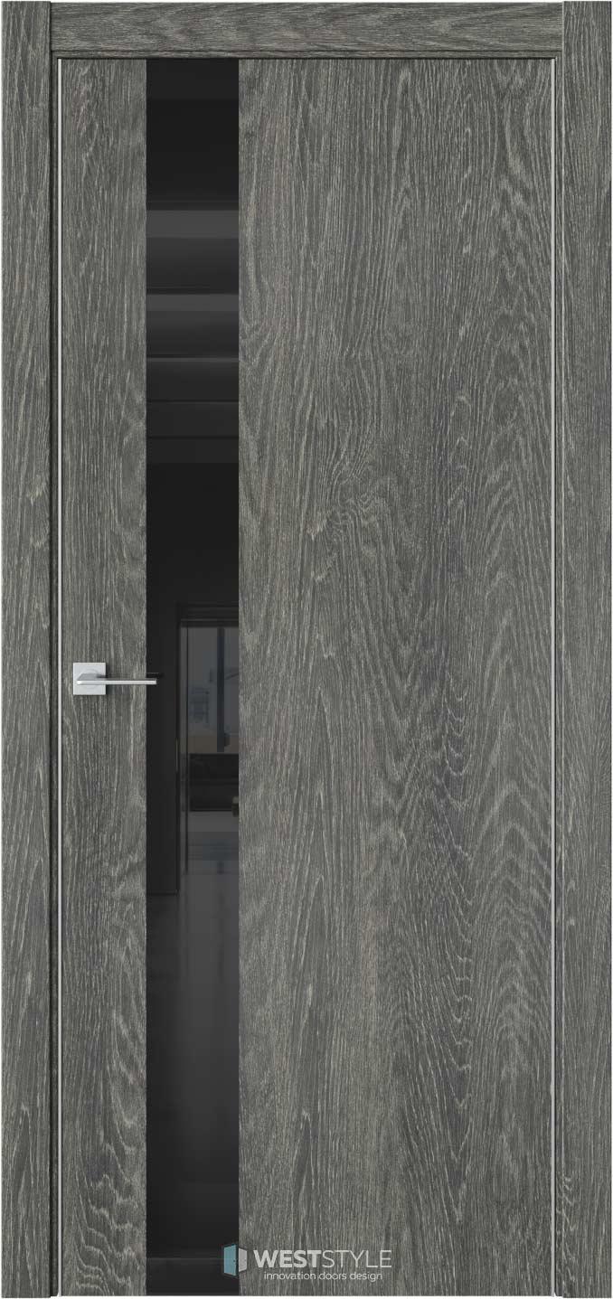 Межкомнатная дверь IN 2 Платинум черное стекло