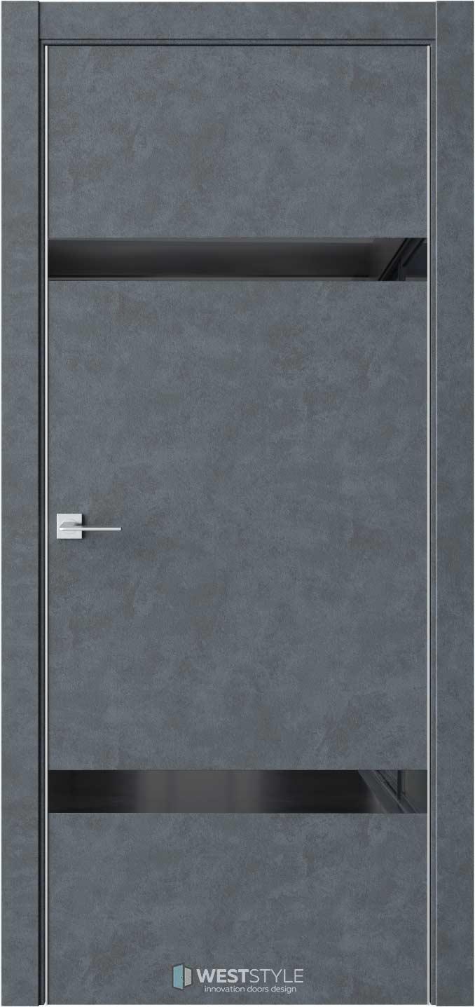 Межкомнатная дверь IN 3 Бетон Маренго черное стекло