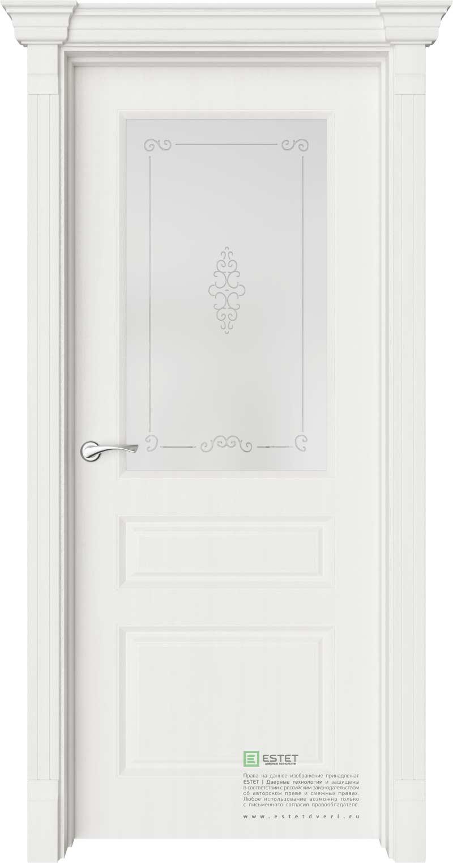 Межкомнатная дверь Межкомнатная дверь Provence Мирбо 3 Вензель Белое дерево стекло