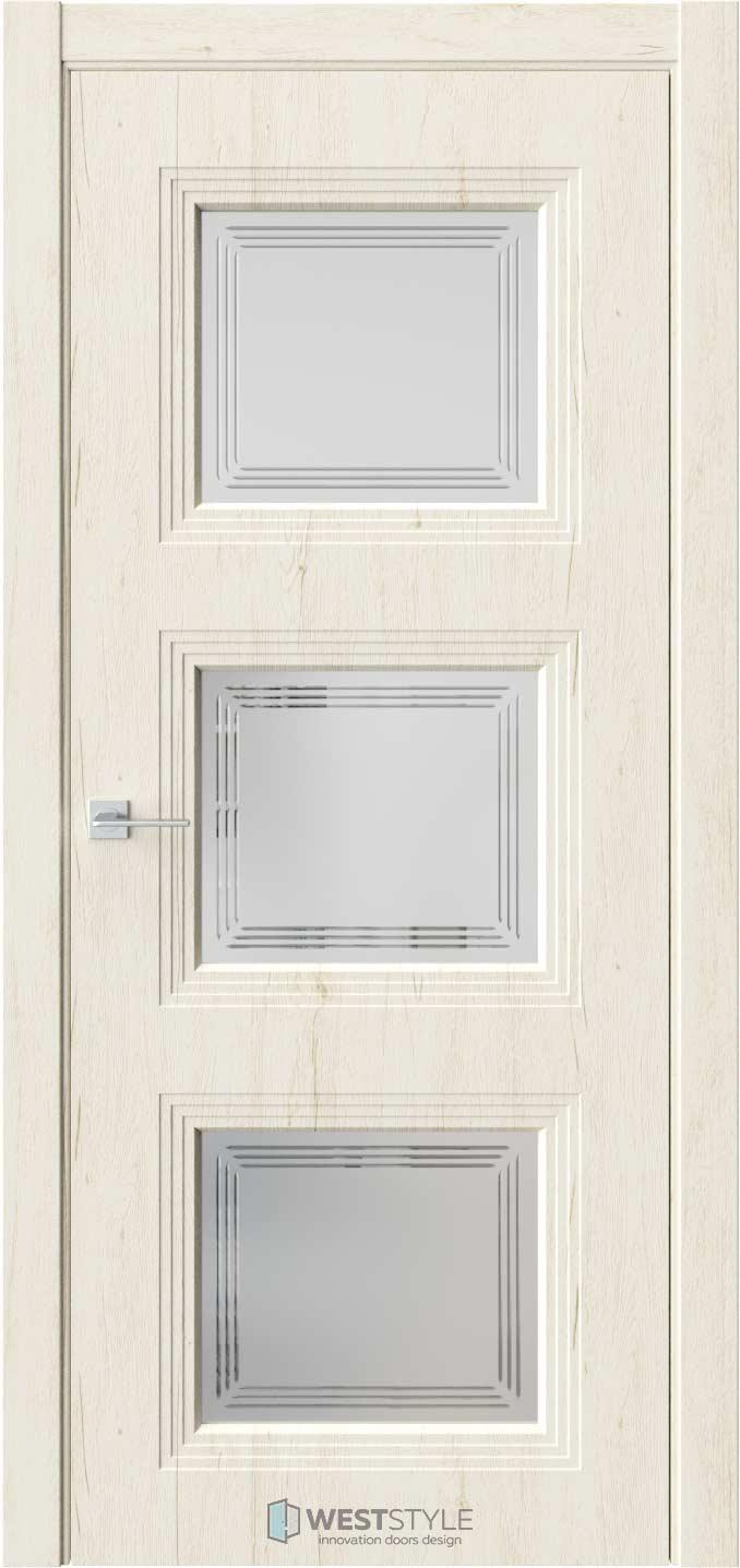 Межкомнатная дверь Monte 6 Дуб Джентл стекло