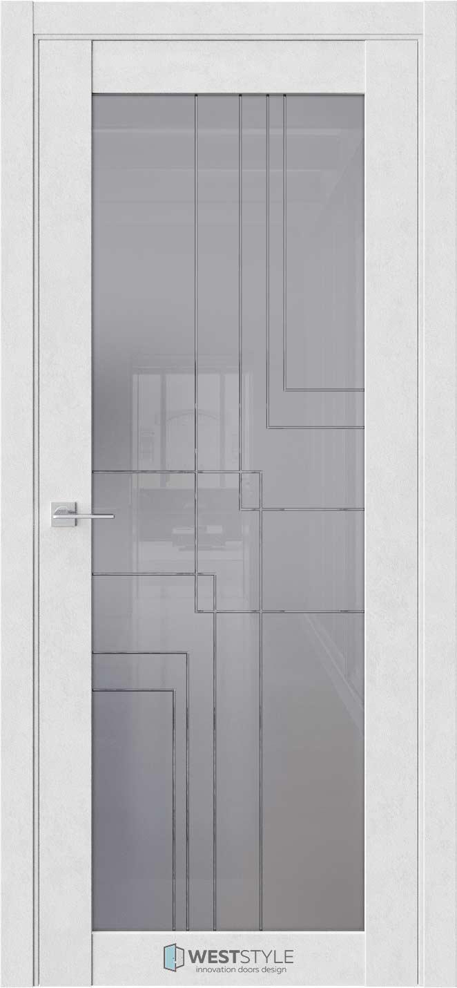 Межкомнатная дверь Межкомнатная дверь NR 2 P8 Бетон лайт стекло