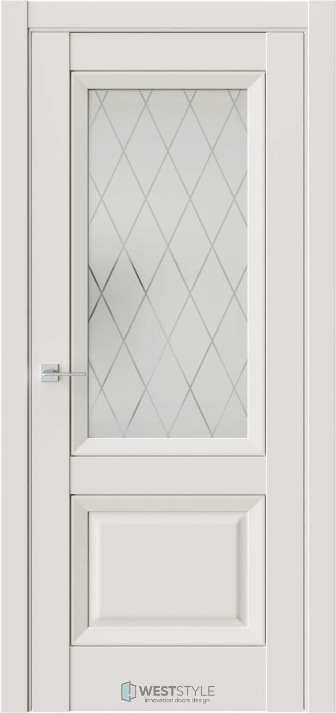 Межкомнатная дверь PL 4F Серая стекло 2