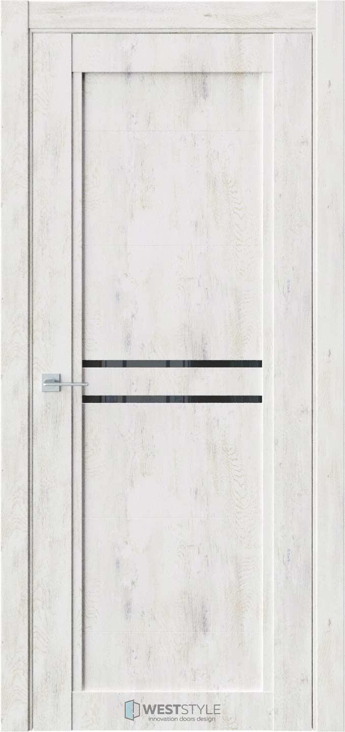 Межкомнатная дверь QP 2 Клен Прованс черное стекло