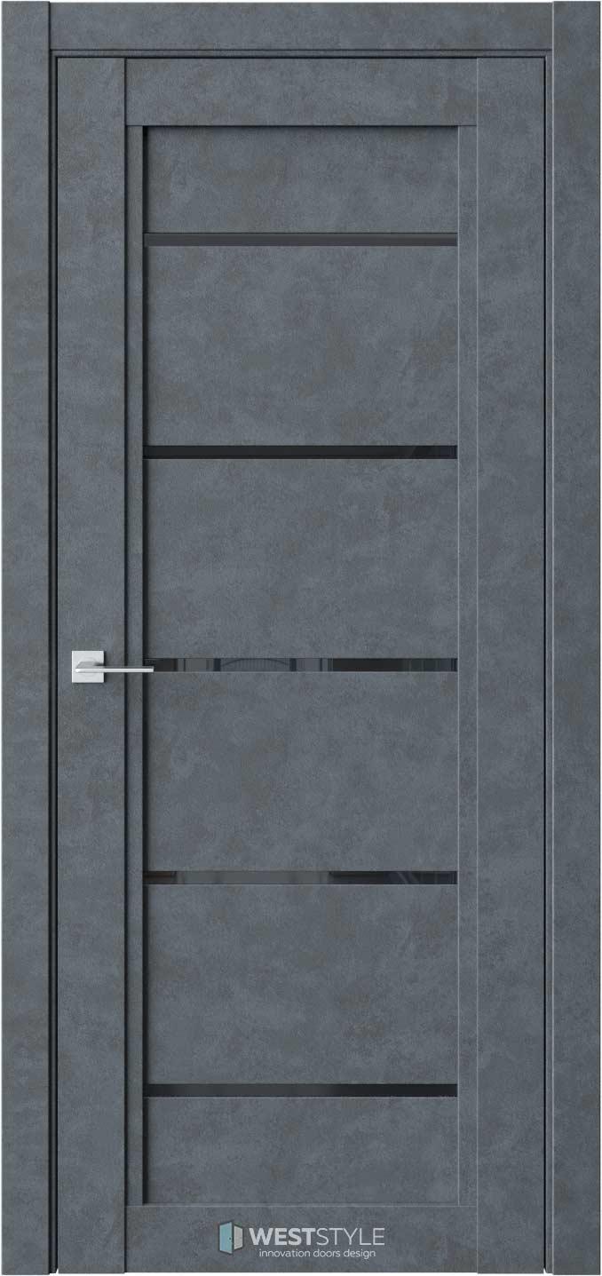 Межкомнатная дверь QP 3 Бетон Маренго черное стекло