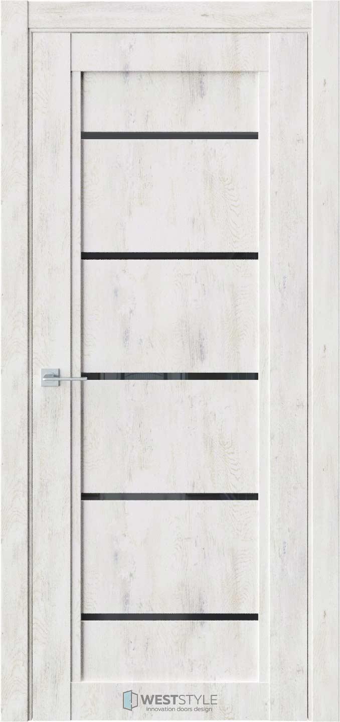 Межкомнатная дверь QP 3 Клен Прованс черное стекло