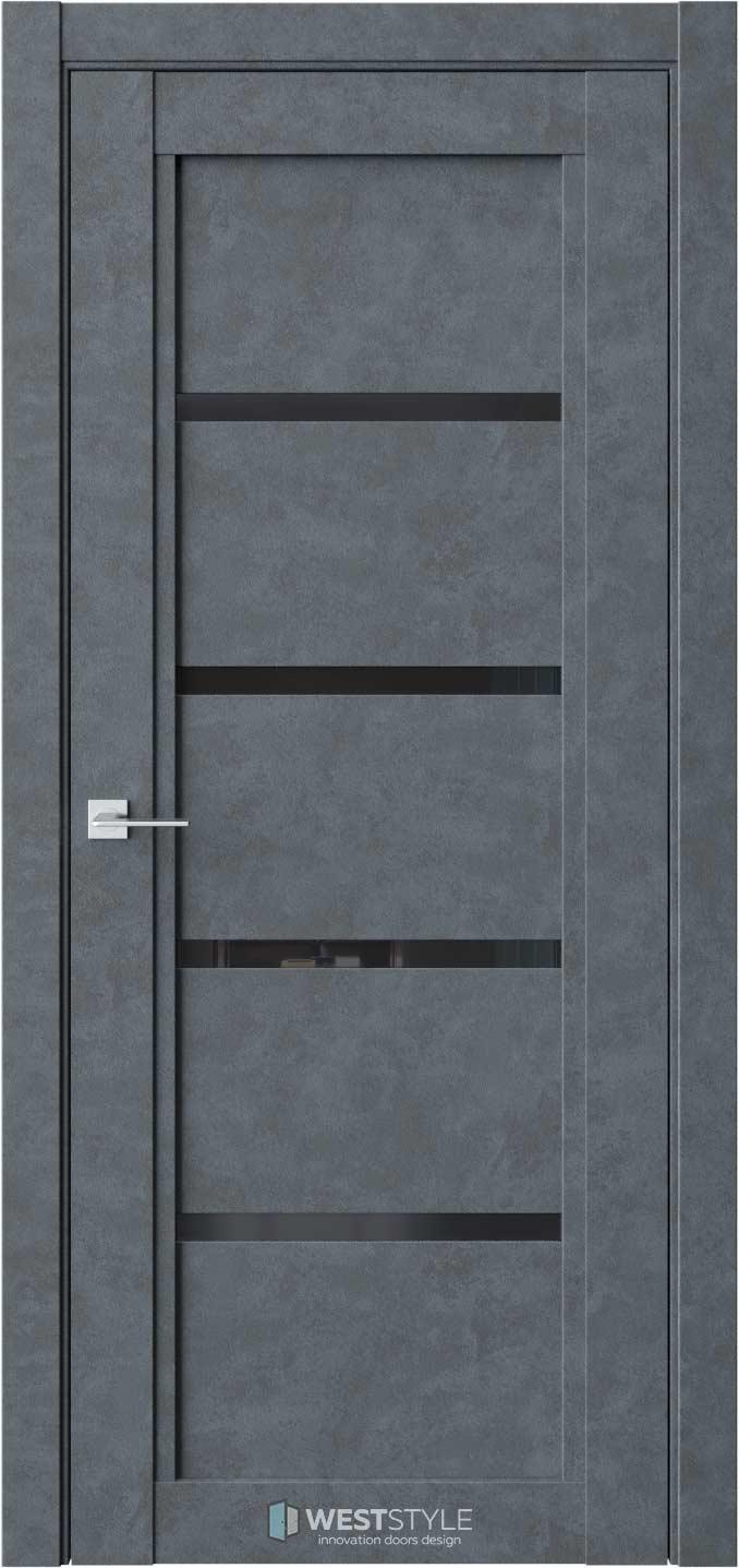 Межкомнатная дверь QP 4 Бетон Маренго черное стекло