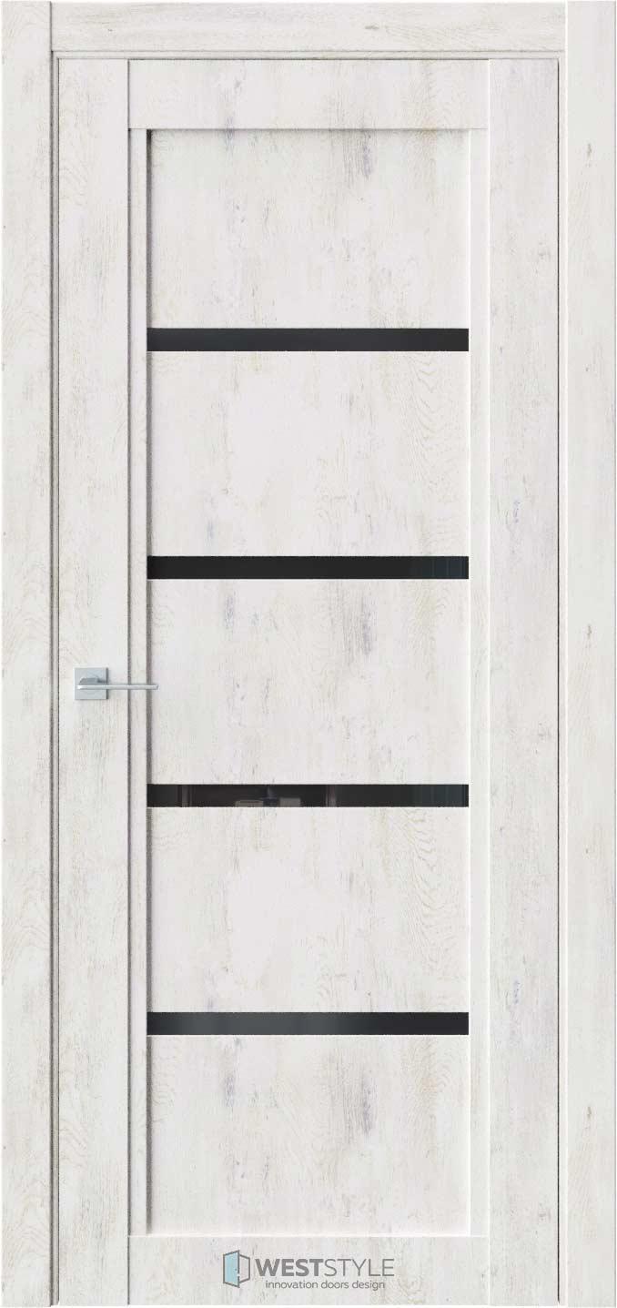 Межкомнатная дверь QP 4 Клен Прованс черное стекло