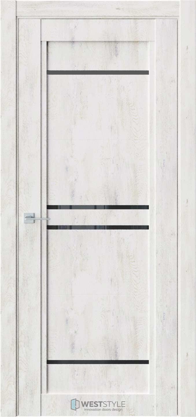 Межкомнатная дверь QP 5 Клен Прованс черное стекло