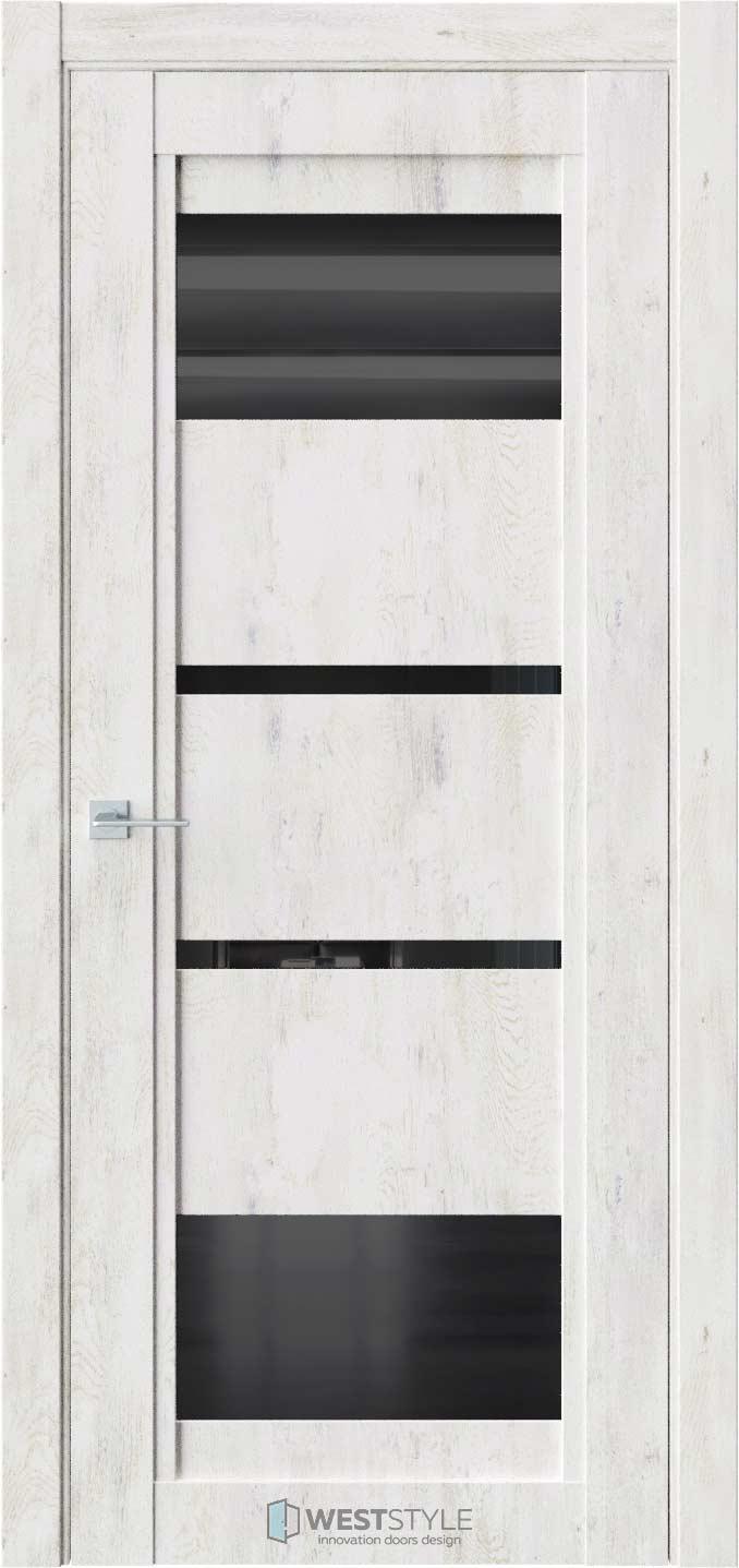 Межкомнатная дверь QP 6 Клен Прованс черное стекло