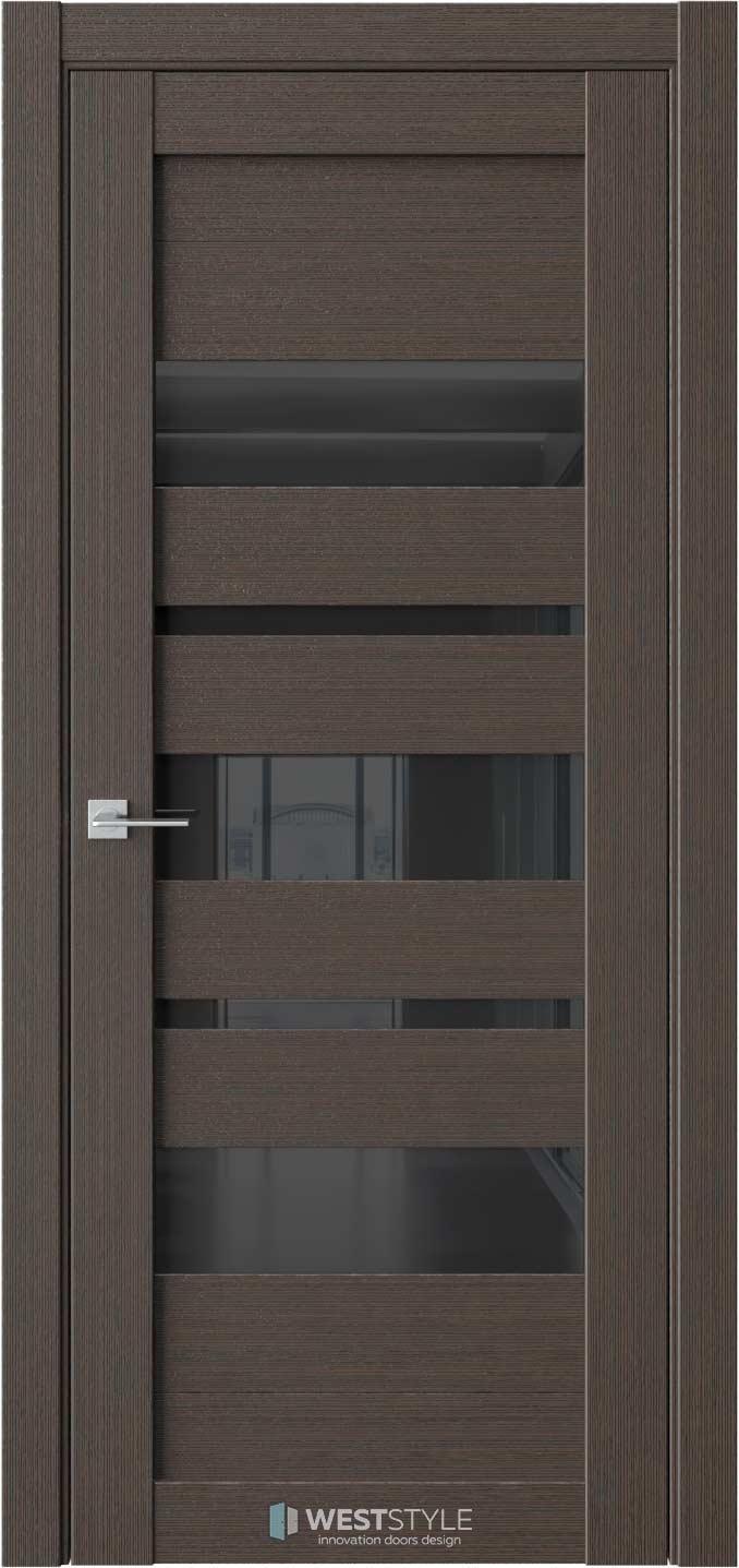 Межкомнатная дверь RE19 Вудекс Макадамия черное стекло