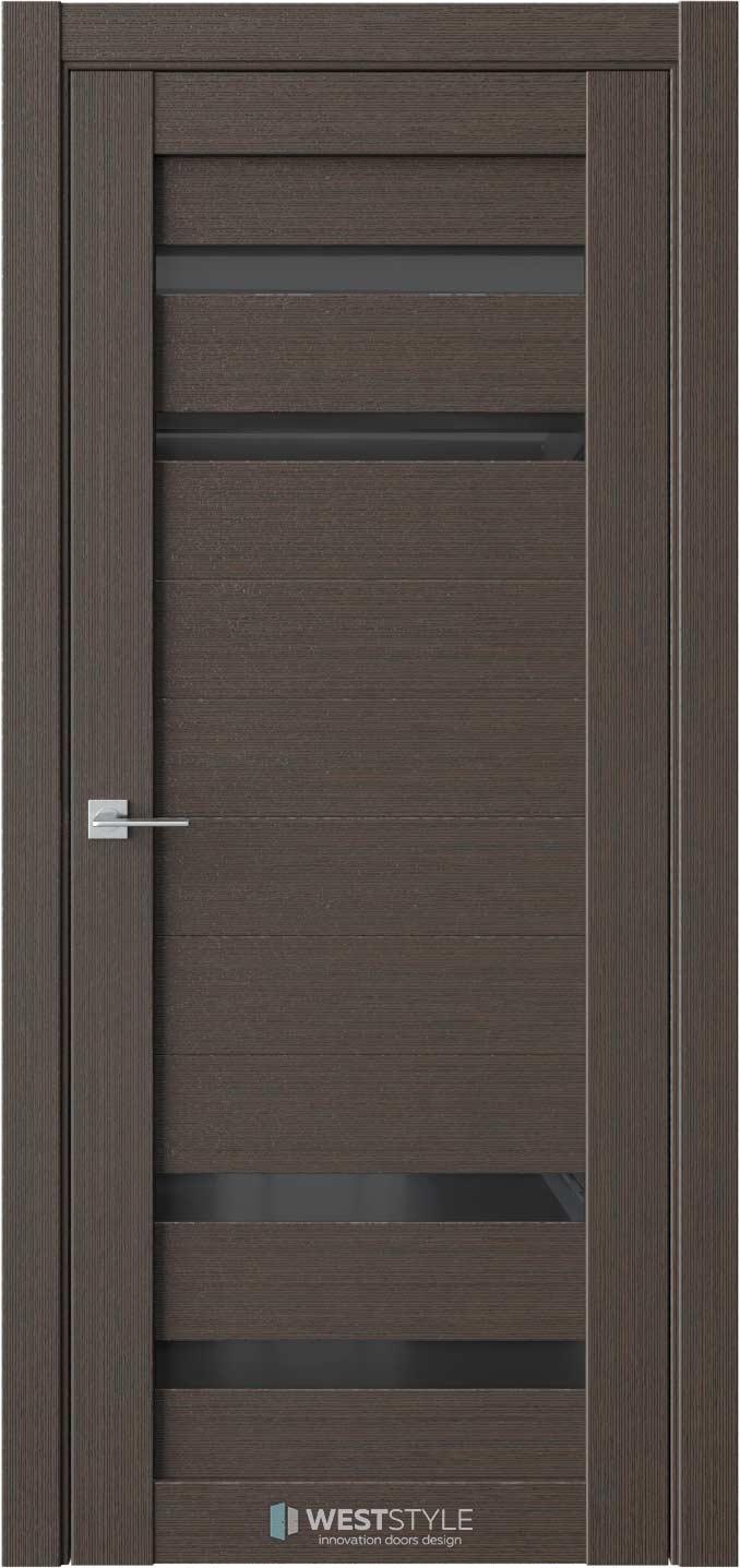 Межкомнатная дверь RE20 Вудекс Макадамия черное стекло