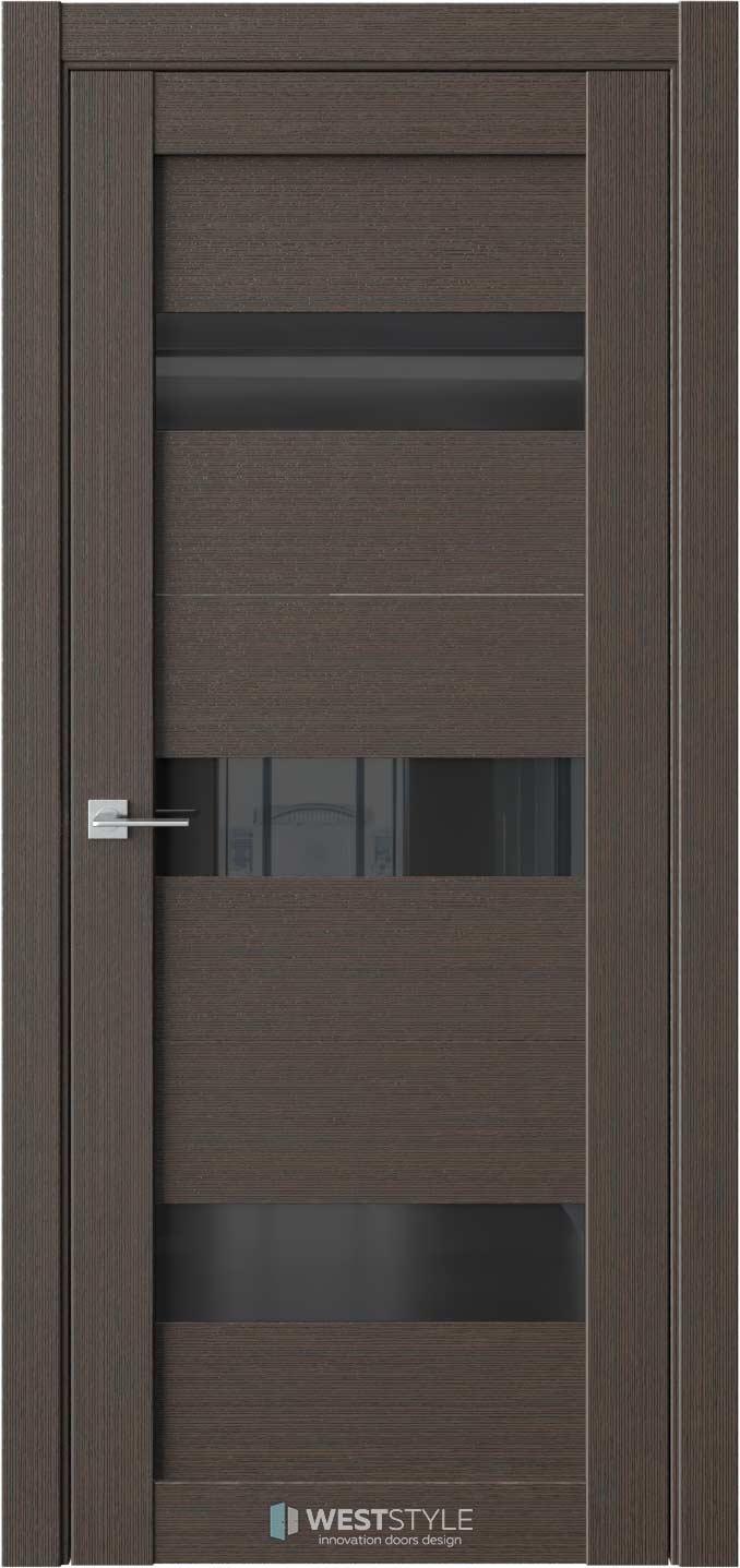 Межкомнатная дверь RE41 Вудекс Макадамия черное стекло