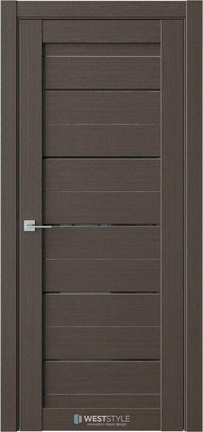 Межкомнатная дверь RE6 Вудекс Макадамия черное стекло
