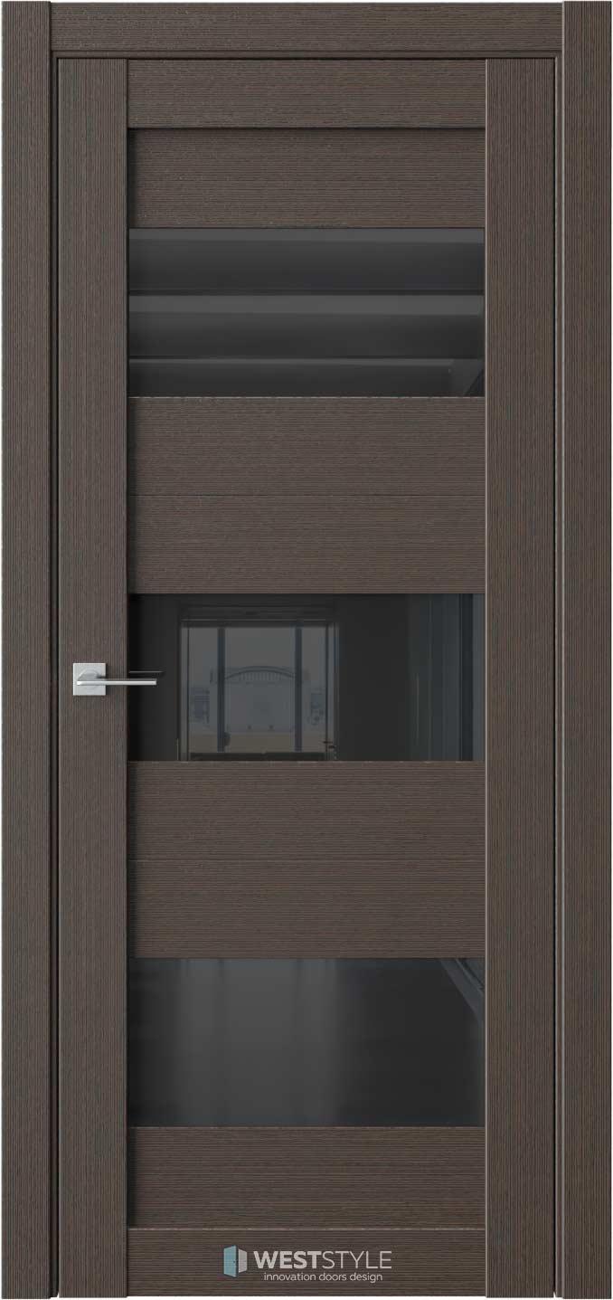 Межкомнатная дверь RE8 Вудекс Макадамия черное стекло