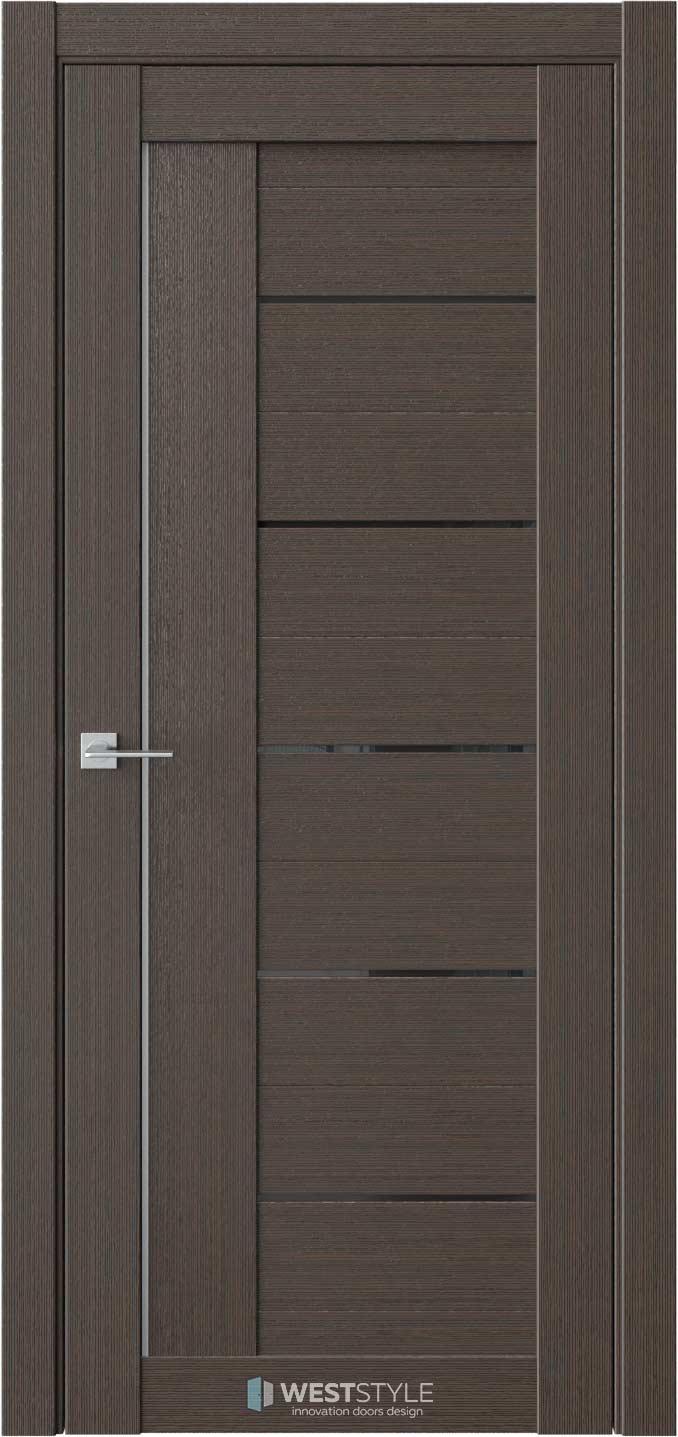 Межкомнатная дверь RE9 Вудекс Макадамия черное стекло