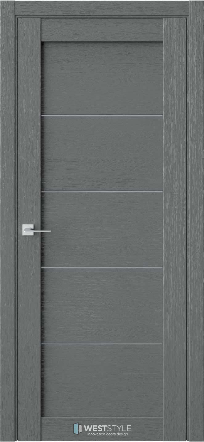 Межкомнатная дверь RL 1 Сильвер стекло-графит