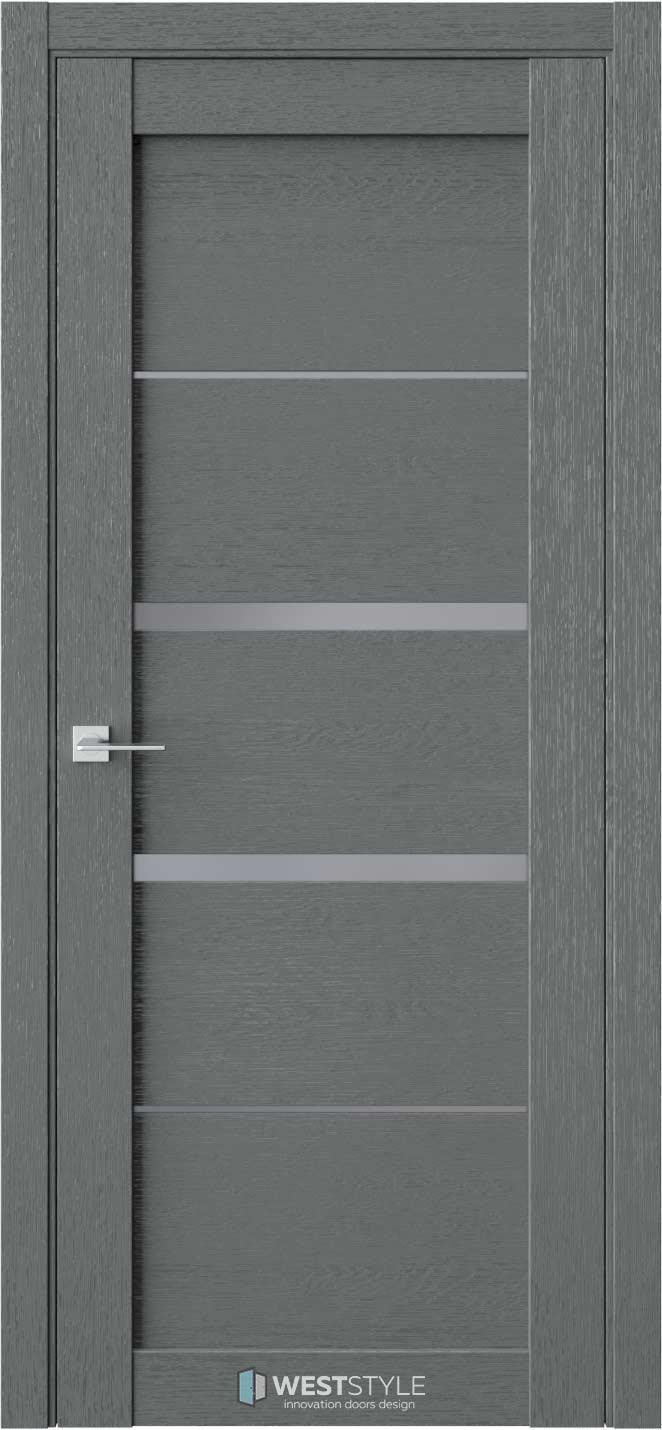 Межкомнатная дверь RL 2 Сильвер стекло-графит