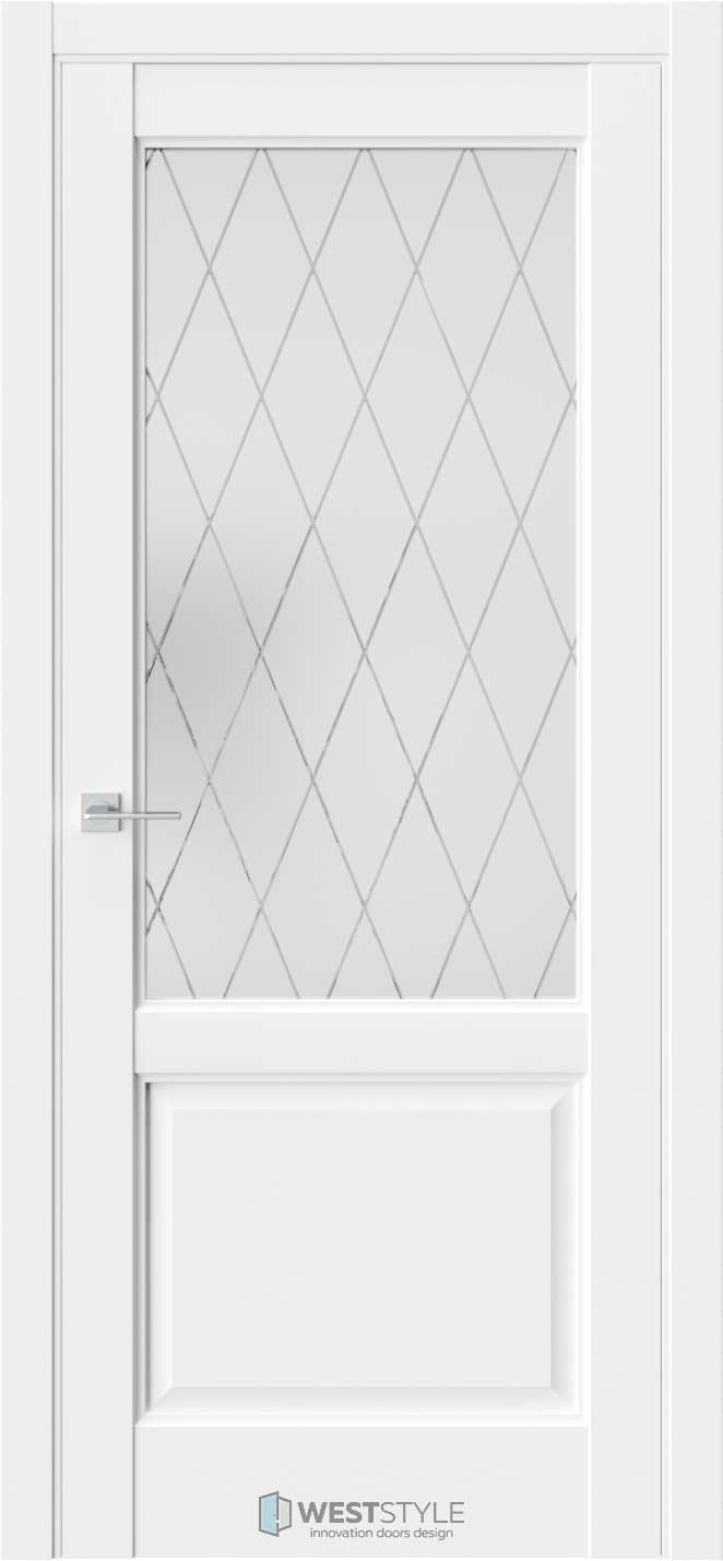 Межкомнатная дверь SE 4 Белая стекло 4