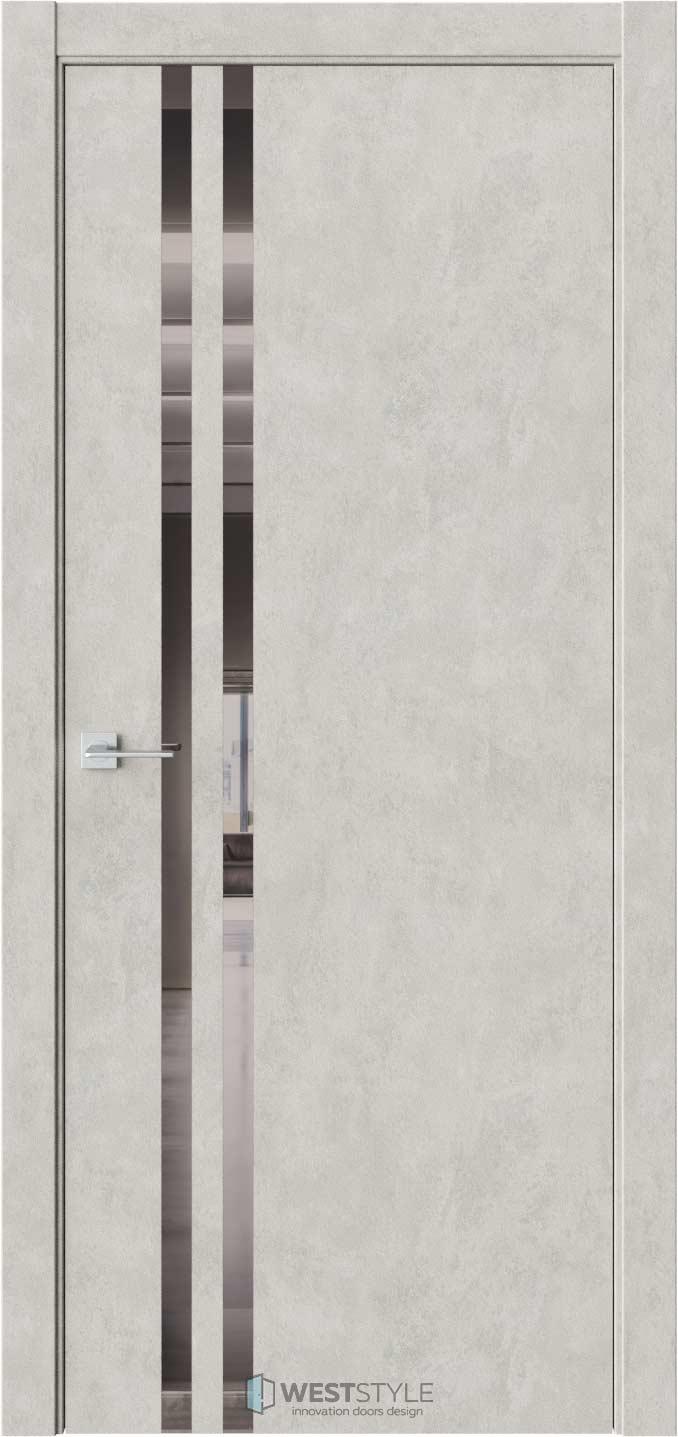 Межкомнатная дверь СТЕЛЛА 2 Бетон Смоки стекло-зеркало