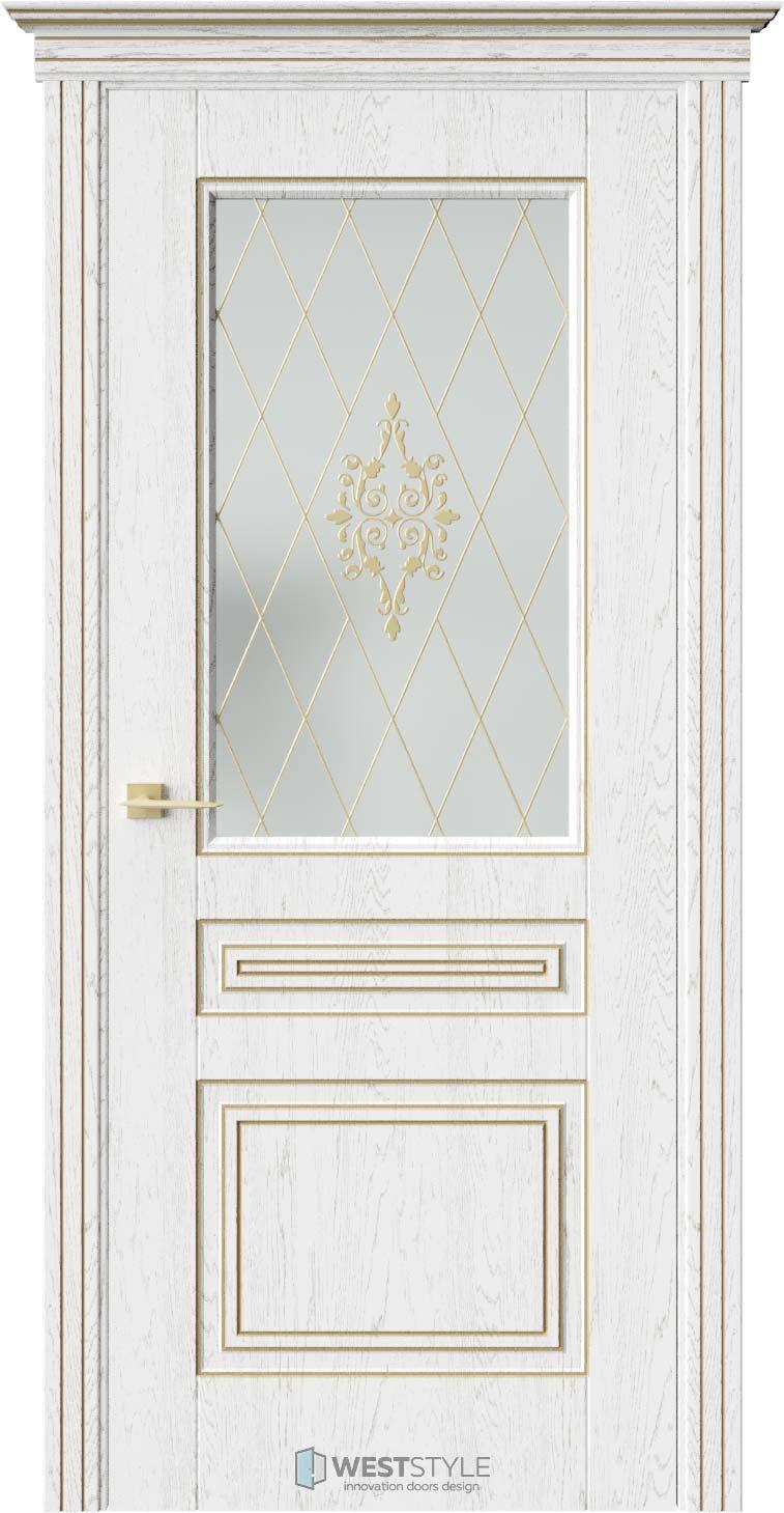 Межкомнатная дверь ТРИО Дуб Винта стекло