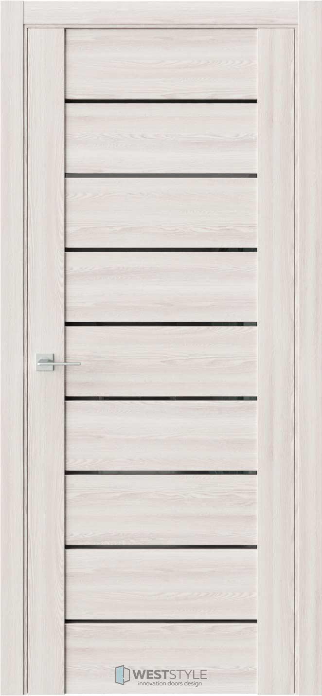 Межкомнатная дверь V 23 Клён Крем черное стекло