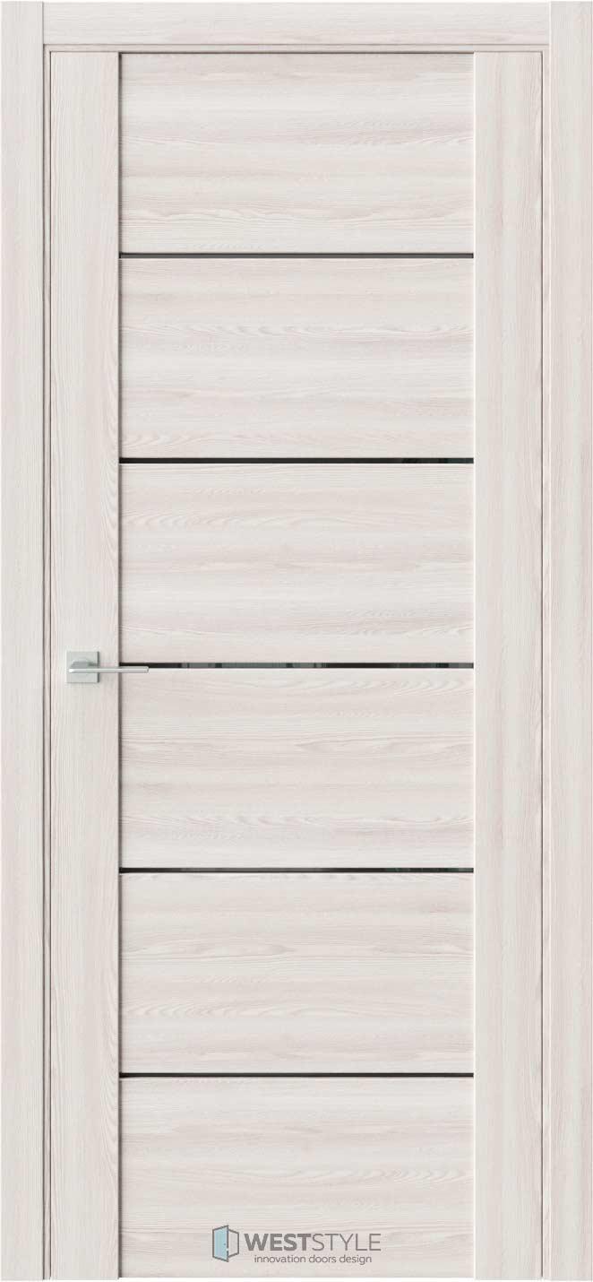 Межкомнатная дверь V 24 Клён Крем черное стекло