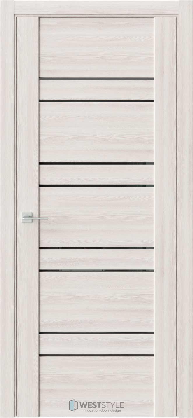 Межкомнатная дверь V 27 Клён Крем черное стекло