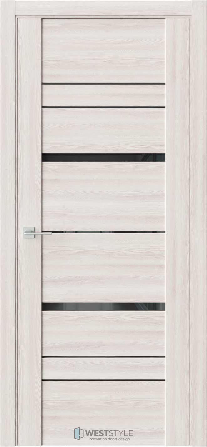 Межкомнатная дверь V 28 Клён Крем черное стекло