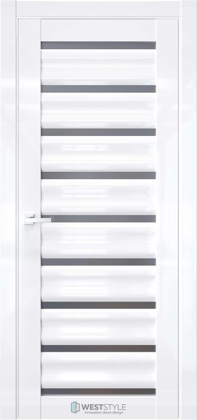 Межкомнатная дверь WV 2 Белый глянец стекло