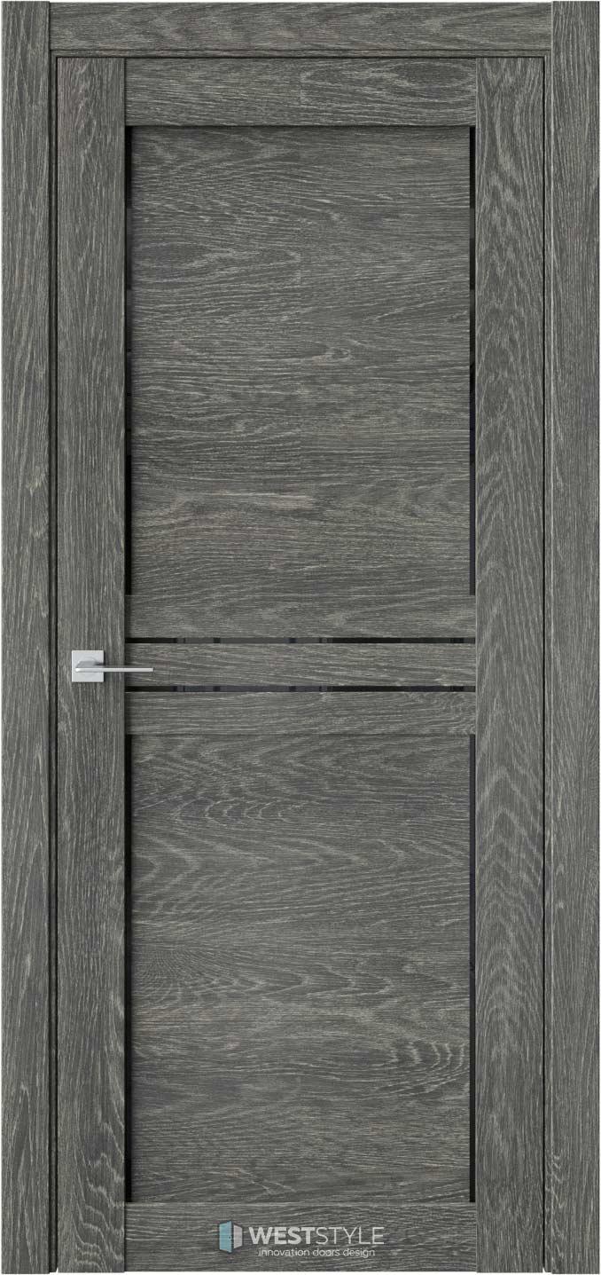 Межкомнатная дверь XC 4 Платинум черное стекло