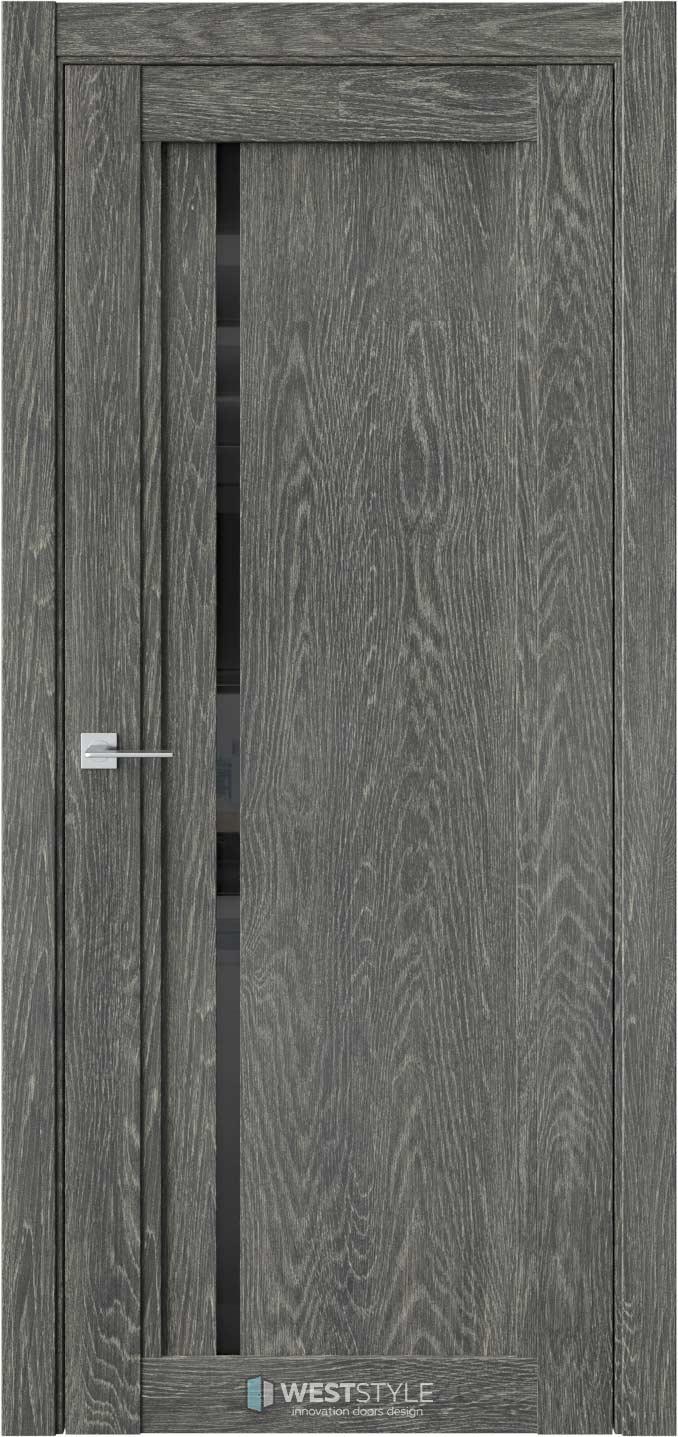 Межкомнатная дверь XC 5 Платинум черное стекло
