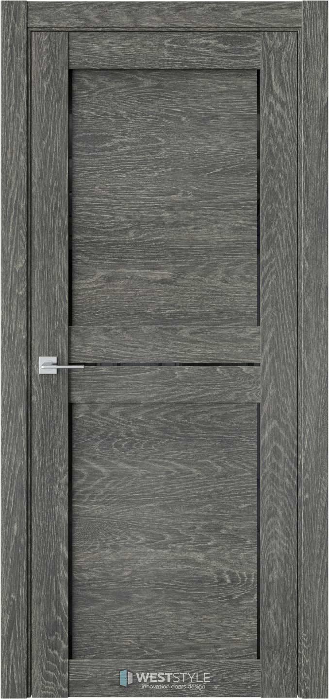 Межкомнатная дверь XC 7 Платинум черное стекло