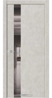 Межкомнатная дверь АЛЬФА Бетон Смоки стекло-зеркало