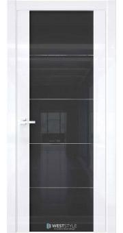 Межкомнатная дверь E7 Белый глянец черное стекло 1