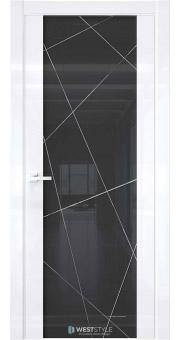 Межкомнатная дверь E7 Белый глянец черное стекло P1