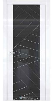 Межкомнатная дверь E7 Белый глянец черное стекло P7