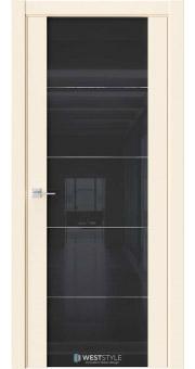 Межкомнатная дверь E7 Emlayer бежевый черное стекло 1