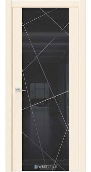 Межкомнатная дверь E7 Emlayer бежевый черное стекло P1