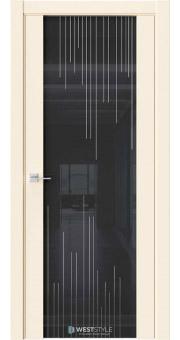 Межкомнатная дверь E7 Emlayer бежевый черное стекло P5