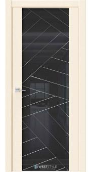 Межкомнатная дверь E7 Emlayer бежевый черное стекло P7