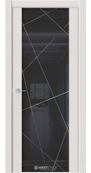 Межкомнатная дверь E7 Emlayer серый черное стекло P1