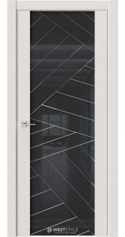 Межкомнатная дверь E7 Emlayer серый черное стекло P7