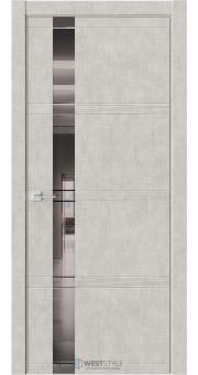 Межкомнатная дверь EVO 1D Бетон Смоки стекло-зеркало