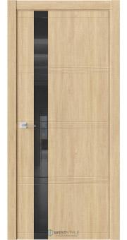 Межкомнатная дверь EVO 1D Сенди черное стекло