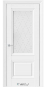 Межкомнатная дверь PL 4F Белая стекло 2