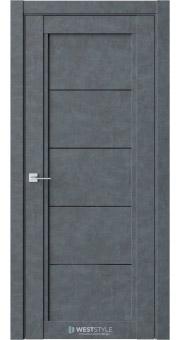 Межкомнатная дверь QP 1 Бетон Маренго черное стекло