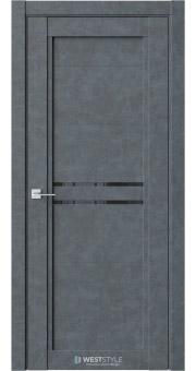 Межкомнатная дверь QP 2 Бетон Маренго черное стекло