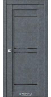 Межкомнатная дверь QP 5 Бетон Маренго черное стекло
