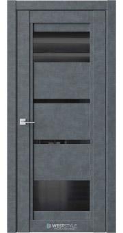 Межкомнатная дверь QP 6 Бетон Маренго черное стекло