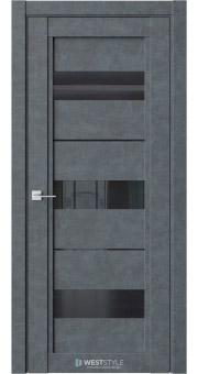 Межкомнатная дверь QP 7 Бетон Маренго черное стекло